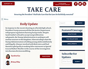 Take Care blog home page.