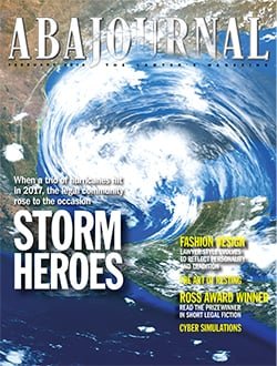 February 2018 magazine cover with hurricane radar image..