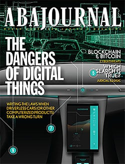 ABA Journal March 2018 cover image with autonomous vehicle image.