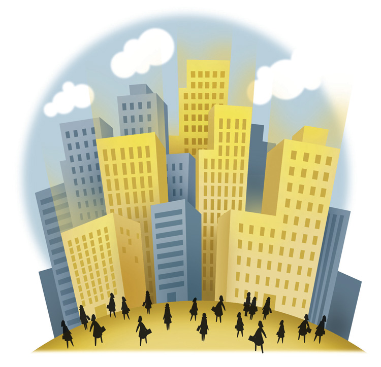 illustration of buildings with silhouettes of women walking around