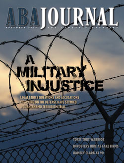 November 2018 ABA Journal Cover: A Military Injustice.