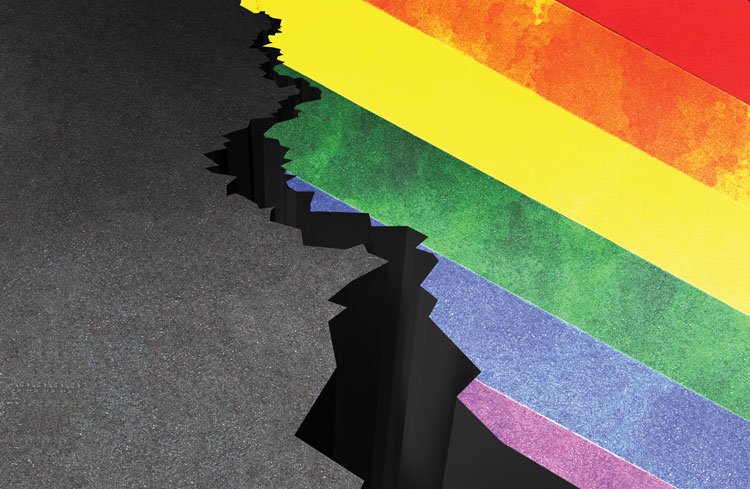 Illustration of cracked ground and a rainbow