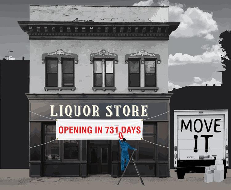 Illustration of Liquor Store waiting to open