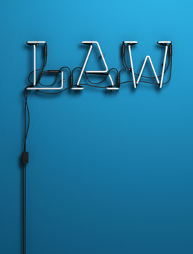 Neon sign that says 'law'