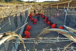 Prisoners at Camp X-Ray, GITMO, Cuba