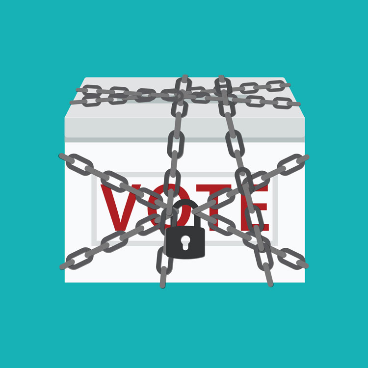 Ballot box wrapped in chains