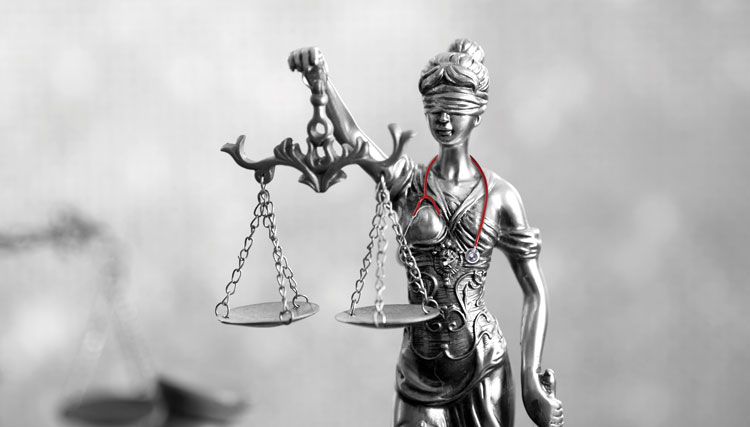 Lady of justice with a stethescope