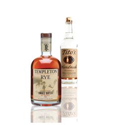 Rye whiskey and vodka bottles