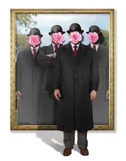 4 men in bowler hats with roses over their faces