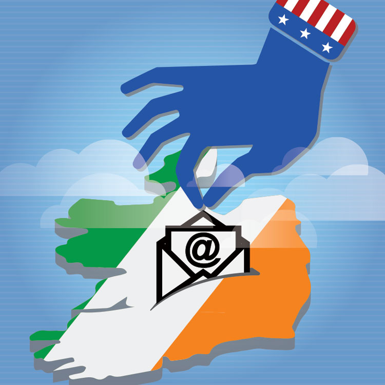 Illustration of hand taking an email from Ireland