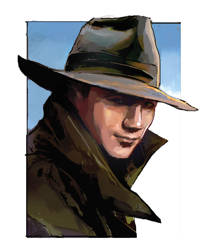 Illustration of a man in a trench coat wearing a Fedora
