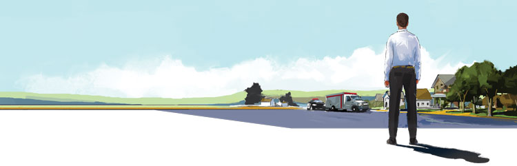 Illustration of man looking on the horizon