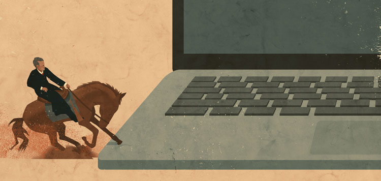 illustration of horse stepping on a laptop