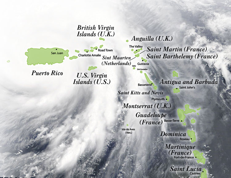 Map of Puerto Rico and Virgin Islands