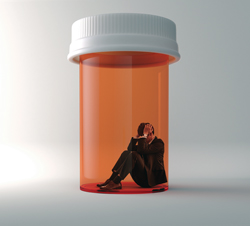 man in pill jar