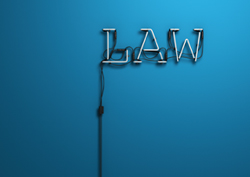 the word 'law' as neon sign