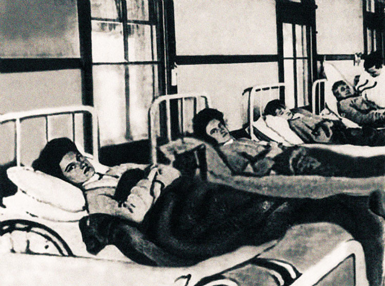 Typhoid Mary in hospital bed