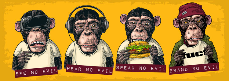 Four monkeys with shirts reading See no evil, hear no evil, speak no evil, brand no evil