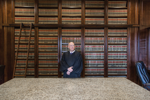 Judge in a law library