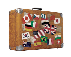 suitcase with many national tags