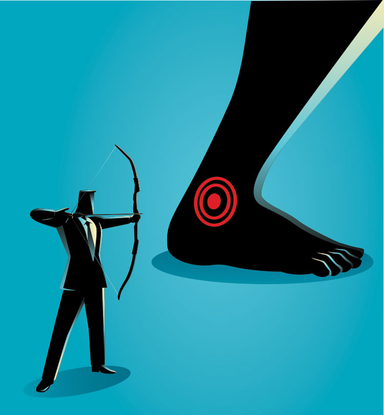 Bow and arrow shooting at ankle