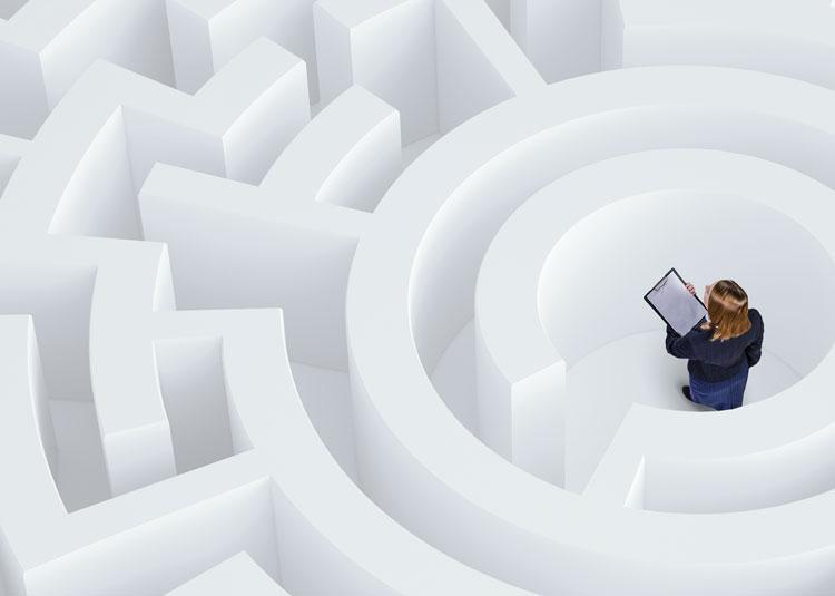 woman in maze