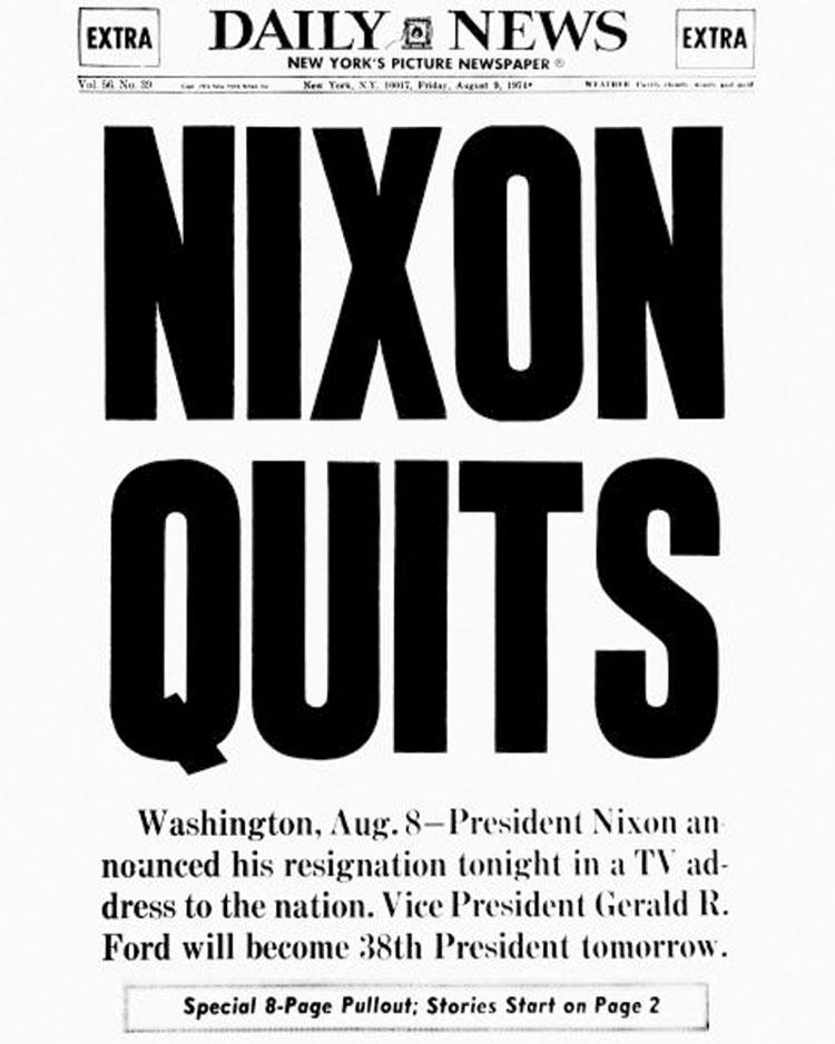 Nixon Quits Newspaper Headline