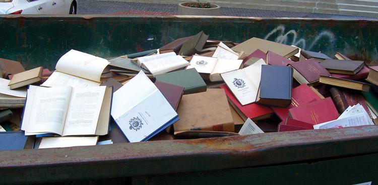Books in dumpster