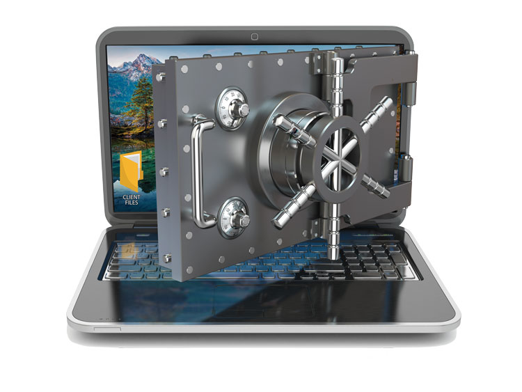 Laptop locked with a safe door