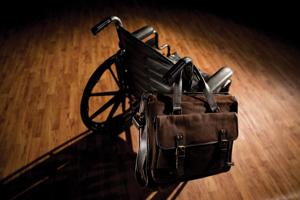 wheelchair with attache case