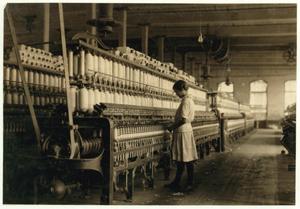 girl at industrial loom