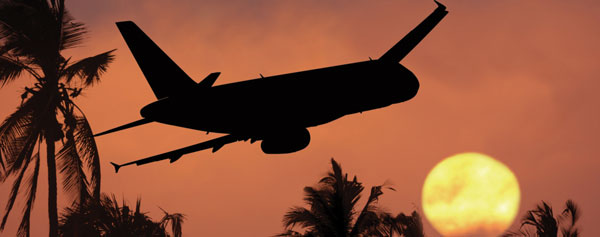 plane heading towards a tropical sunset