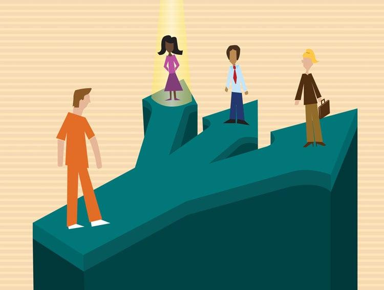 Illustration of prisoner choosing a lawyer