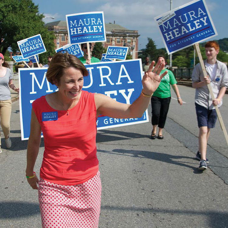 Maura Healey campaigning