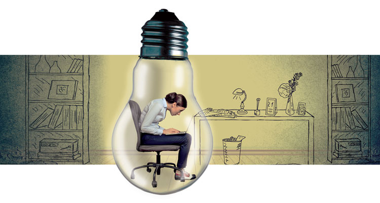 illustration of woman in a lightbulb
