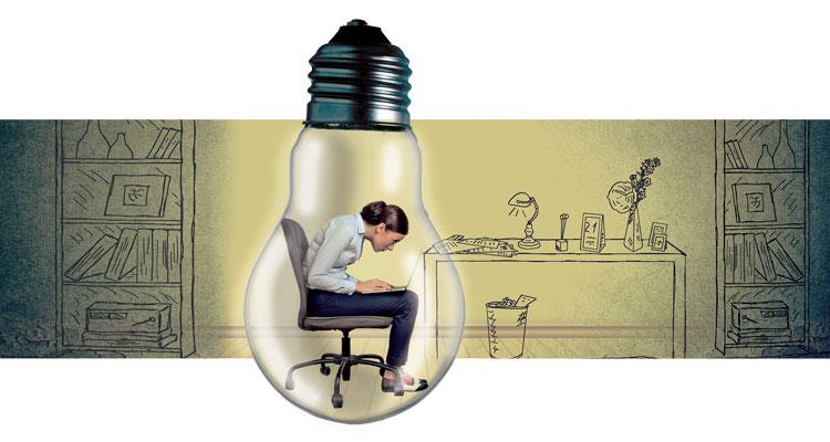 illustration of woman in a lightbulb