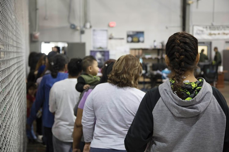 Detainees at Border Patrol processing center