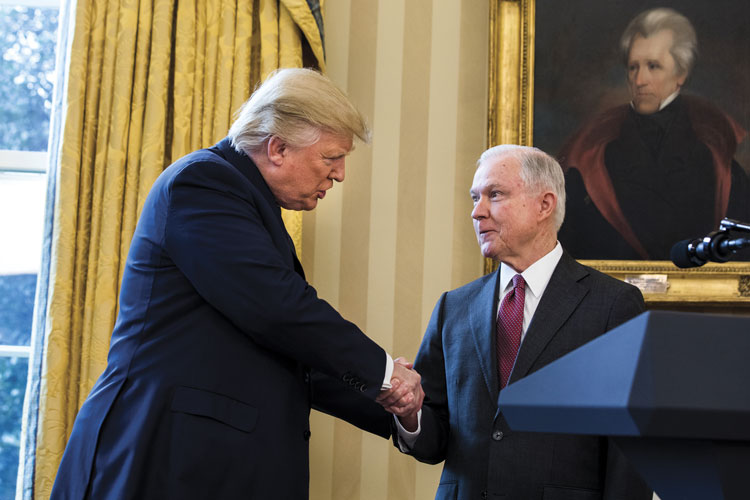 Trump Shaking hands with Sessions