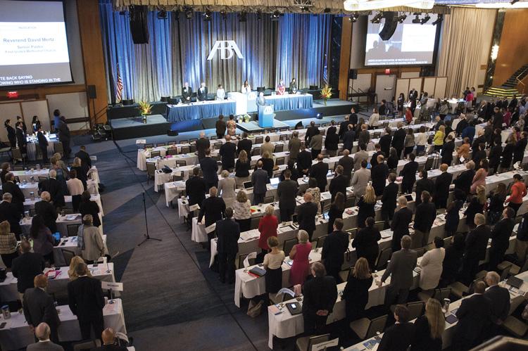 large meeting room full of people