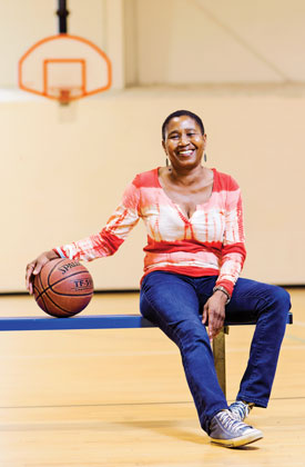 Michele Roberts with basketball