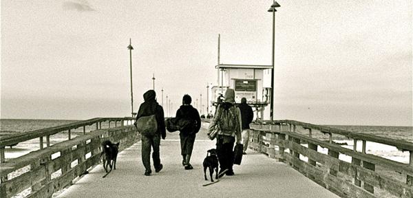 homeless on the pier in Venice Beach