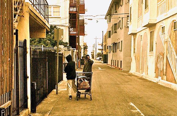 homeless in an alley in Venice Beach