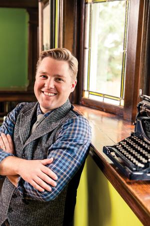 Matt Kulseth with typewriter