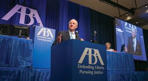 ABA President William Hubbard speaks at Annual Mtg