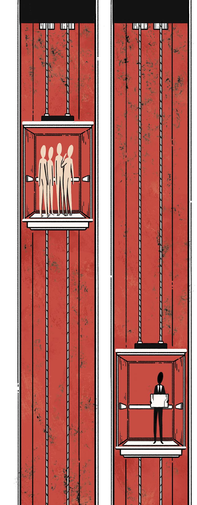 people on elevators