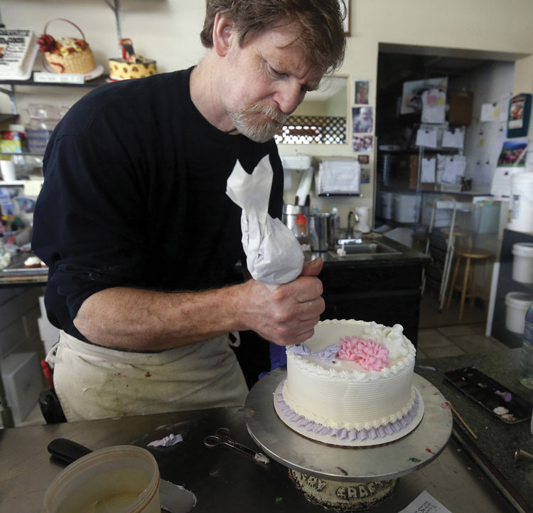 man making cake