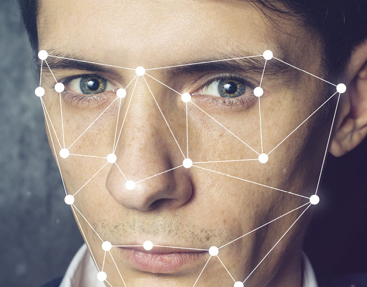 man with diagram over face