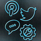 Icons for poscast, Twitter, commentary and apps.