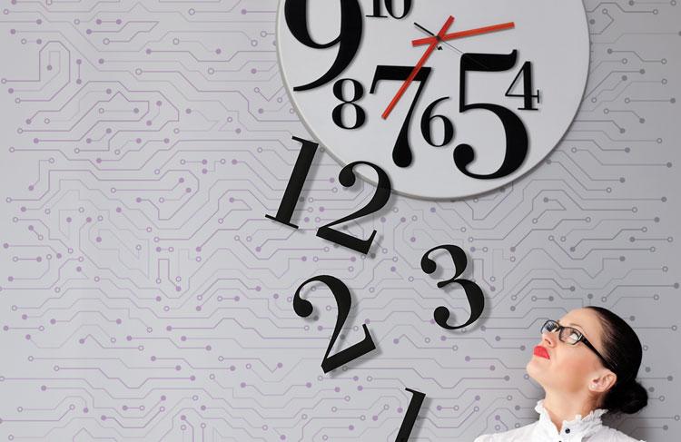 woman looking at clock