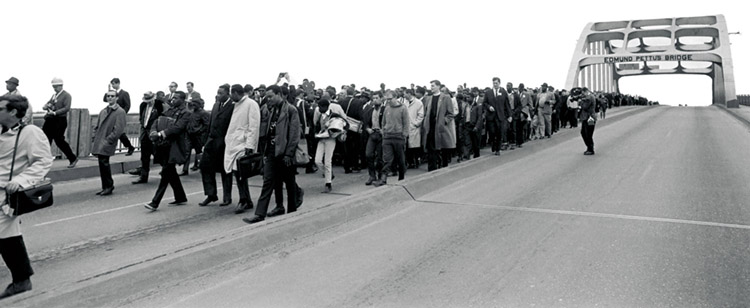Marchers on Edmund Pettus Bridge